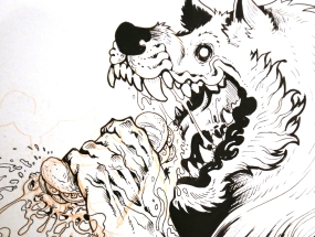 "Maria Wolf Lopez also goes by ""Wolf"" or ""Wolfie."" She drew this werewolf eating a sandwich."