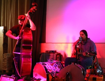 Felipe Toltecatl, left, and Cooper Ayon, right, at a gig in Albuquerque.