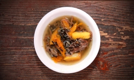Lamb stew with wild rice and squash.