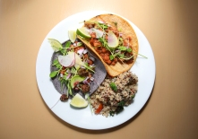 Oaxacan red bean tacos with quinoa and kale salad.
