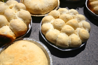 Hot from the oven. Pueblo bread.